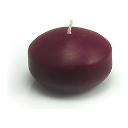 "Jeco - 1 3/4"" Burgundy Floating Candles-24pc/Box - Small round floaters are a must for events such as housewarmings and weddings. Illuminate these floaters on waters to maximize the atmosphere. These unscented floating candle discs burn exceptionally long and have solid color all the way through. PLEASE NOTE: Actual color may differ from the color shown in the image(s) due to monitor displays.; Features: Color: Burgundy; 100% Handpoured; Prices are per box of 24 candles; Size: 1.75"" Diameter x 1"" H; Burn Time: 3 - 4 Hours"