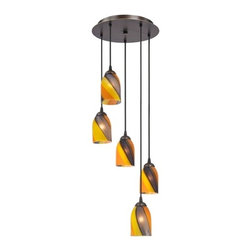 Design Classics Lighting - Modern Multi-Light Pendant Light with Art Glass and 5-Lights - 580-220 GL1015D - Contemporary / modern neuvelle bronze 5-light mini-pendant light. Includes one bronze three-port ceiling canopy. Each mini-pendant comes with 7-feet of black cuttable cord that allows for custom height adjustability for each pendant. Takes (5) 100-watt incandescent A19 bulb(s). Bulb(s) sold separately. UL listed. Dry location rated.