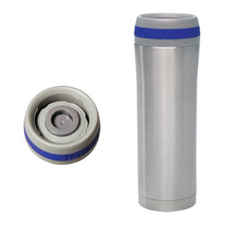 Chantal - Chantal 15oz. Stainless Steel Travel Mug with Blue Band - Set of 2 Mugs with Lid - Shop for Travel Mugs and Tumblers from Hayneedle.com! The Chantal 15oz. Stainless Steel Travel Mug with Blue Band - Set of 2 Mugs with Lids let you take your favorite beverage with you wherever you go. Made from stainless steel and featuring vacuum insulation to prevent condensation these mugs are perfect for coffee tea and more. Each mug features a layer of copper sandwiched between the stainless steel interior and exterior ensuring your drinks remain at an optimum drinking temperature for as long as possible. A single-touch button allows you to sip easily without worry about spills. Piece is dishwasher safe.About Chantal Cookware CorporationAs the most renowned name in enamel-on-steel cookware today US-based Chantal Cookware Corporation was the first to bring dramatic color tempered glass lids stay-cool handles and environmentally-friendly cookware for cooking serving and storing to the world's market. Founded in 1971 by engineer Heida Thurlow the first woman in the US to launch and run a cookware company Chantal has received 26 design and utility patents from the US and Germany.