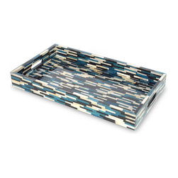 Palecek - Shores Tray - Jeffrey Alan Marks Collection. Capiz shells are dyed in multiple colors and inlaid in a random unique pattern. With cut-out handles.