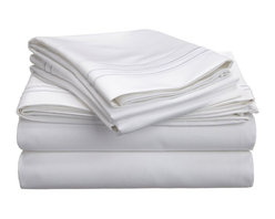 """Egyptian Cotton 800 Thread Count Embroidered Sheet Set - Twin XL - White/White - Bring a touch of elegance to your bedroom with this Egyptian Cotton 800 Thread Count Embroidered Sheet Set. This sheet set features a minimalistic but magnificent design consisting of embroidered colored lines atop sateen solid colored fabric creating an updated look to a classic design. Each set includes (1) Fitted Sheet: 39""""x80"""", (1) Flat Sheet: 66""""x100"""", and (2) Pillowcases: 20""""x30""""."""
