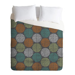 DENY Designs - Loni Harris Summer Dots Duvet Cover - Turn your basic, boring down comforter into the super stylish focal point of your bedroom. Our Luxe Duvet is made from a heavy-weight luxurious woven polyester with a 50% cotton/50% polyester cream bottom. It also includes a hidden zipper with interior corner ties to secure your comforter. it's comfy, fade-resistant, and custom printed for each and every customer.