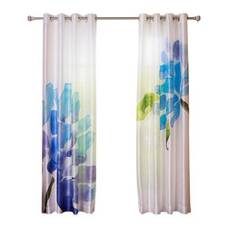 Best Home Fashion - Faux Silk Flower Printed Watercolor Grommet 84-inch Curtain Panel Pair, Blue - - These gorgeous flower-printed watercolor curtains are a great addition to any home decor.