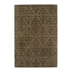 Safavieh - Martha Stewart Rug in Coffee Brown (8 ft. 6 in. x 5 ft. 6 in.) - Size: 8 ft. 6 in. x 5 ft. 6 in. Transitional style. Hand tufted weave. Made from wool. Made in India. Pile height: 0. 63 in. Derived from a 17th-century Italian fabric document, the surprisingly modern pattern in Strolling Garden replicates outlined laid work called couching. In the original archival textile, this technique involves cording applied to satin cloth; in this modern version, viscose yarns are used to outline the same lustrous pattern against Strolling Gardens cut-pile background of New Zealand wool. Care Instructions: Vacuum regularly. Brushless attachment is recommended. Avoid direct and continuous exposure to sunlight. Do not pull loose ends clip them with scissors to remove. Remove spills immediately; blot with clean cloth by pressing firmly around the spill to absorb as much as possible. For hard-to-remove stains professional rug cleaning is recommended.
