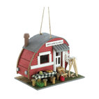 KOOLEKOO - Vintage Trailer Birdhouse - Create a comfy campground for your fly-in guests with this cozy little trailer! Comical birdhouse comes complete with all the accessories of an old-time outdoor paradise.