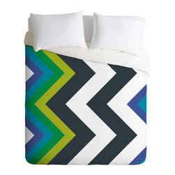 DENY Designs - Karen Harris Modernity Galaxy Cool Chevron Twin Duvet Cover - Count on chevron to make a sharp impression in your bedroom. Black and white bring graphic appeal, but the inclusion of shades of blue and green help ground the color palette and provide a jumping off point for designing a whole room.