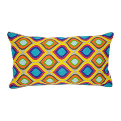 "Villa - Mosaique Multi Pillow Set of 2 - The cheerful Mosaique pillows brighten the room in an embroidered rainbow of teal and ocean blue, kelley green, bright pink, orange and yellow tiles. Finished with natural linen piping, these lively pillows lend a lively modern vibe to the sofa, chair or bed. 14"" x 26""; Set of two; 100% linen; Includes 95/5 feather down pillow insert; Hidden zipper closure; Hand wash"