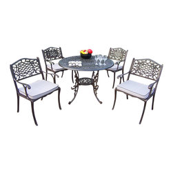 """Oakland Living - Oakland Living Mississippi 42"""" 5-Piece Dining Set with Cushions - Oakland Living - Patio Dining Sets - 201120129AB - About This Product:"""