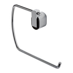 Geesa - Modern Chrome Towel Ring - Towel ring. Chrome plated brass with black clip. Towel hanger from the Geesa Pulse Collection collection. Made in brass and finished with chrome. Decorator contemporary towel holder for your decorator personal bathroom. Imported from Netherlands.