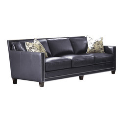 Steve Silver Furniture - Steve Silver Hendrix Sofa w/2 Accent Pillows in Navy Blue Leather - Sofa w/2 Accent Pillows in Navy Blue Leather belongs to Hendrix Collection by Steve Silver The all leather Hendrix sofa is elegantly modern. The sofa features classy Brooklyn Navy Blue upholstery accented by stylish silver nailhead trim. Seats feature 2.0  HR foam with pocketed coils for added comfort.  Back and seat cushions are removable for easy cleaning. Stunning cream and navy down filled accent pillows are included.  Sofa (1)
