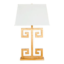 Worlds Away - Worlds Away Gold Leaf Greek Key Lamp CLAYTON G - Gold leaf greek key lamp base with rectangular off white shade. Single socket uses 60 w bulb. Clear cord.