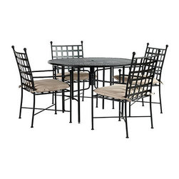 "Ballard Designs - Castellon 5-Piece Round Dining Set - Set includes 4 Arm Chairs with 48"" table. Sand colored knife edge cushions included. Charcoal finish. Table Top has basket weave stamped design for easy care. Replacement cushions available. Castellon 5-Piece Round Dining Set requires 1 replacement cushion per chair. The simple, sculptural lines and timeless details of our Castellon 5-Piece Outdoor Dining Set whisper relaxation with effortless style. Wrought iron and steel frames are fully welded for enduring strength and powder-coated to resist moisture, chipping and rust.Castellon Dining Set features: . . . . . Use of an outdoor furniture cover is recommended to extend the life of your piece. Made in USA."