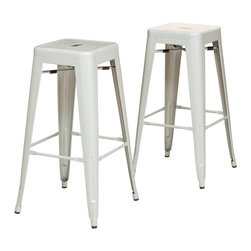 Great Deal Furniture - Munich Steel Counter Stools (Set of 2), Silver - This set of two Munich Steel Counter Stools give you modern style matched with sturdy dependability. It is a modern and edgy set, ideal for those looking to add to their urban decor. These stools are suitable for a bar, kitchen or dining area.