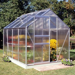 Halls Popular 6 x 8 Ft. Greenhouse - Tend to your plants and flowers in style with the Halls Popular 6 x 8-foot Greenhouse. Beauty meets practicality in this greenhouse which boasts 49 square feet of growing space. The greenhouse has two roof vents for optimal air circulation to keep your plants healthy. The greenhouse is made with 4mm thick double-walled panels that have a polycarbonate glaze to diffuse the light and a protective UV resistant coating to keep your plants from getting burned. Lightweight and virtually unbreakable the Halls Popular Greenhouse features plastic or aluminum strips that attach to the ends and prevents dirt bugs and other foreign objects from getting stuck between the panels. With a peak height of 6.5 feet and overall measurement of 6W x 8L x 6.5H feet this greenhouse kit also comes with a base which raises your greenhouse up by 5 inches. Assembly is a weekend project for one or two people. Additional Features 4mm thick double-walled panels Includes aluminum or plastic strips to attach to the ends Strips prevent objects getting stuck between the layers UV resistant coating protects your plants 2 roof vents for ample ventilation Includes a base which adds 5-inches to the height Door measures 24W x 64H inches Sidewall measures 4 feet Peak height measures 6.5 feet Measures 6W x 8L x 6.5H feet About The Greenhouse Connection LLCThe Greenhouse Connections was established in 1993 to connect gardeners who are looking for a well-made traditional English greenhouse with Halls Garden Products Ltd. of England the world's leading manufacturer of hobby greenhouses. By networking with a variety of people and companies including independent garden centers nurseries mail-order garden and seed catalogs and greenhouse supply companies The Greenhouse Connection does just that. Their offices are located in Grant Pass OR.
