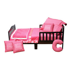 """Simplicity Hot Pink - Toddler Set (4pc) - Let the simple side of Simplicity Hot Pink bring out the sweetness in your room!  Simplicity Hot Pink is nothing too sweet for any personality!  Beautiful hues of pink with white throughout make the most of this set.  This 4pc set includes:  sheet, coordinating medium quilt, pillowcase or sham, and decorative pillow. Crib sheet accents this collection in our designer cotton print fabric - """"Pink Dots"""".  Simplicity Hot Pink coordinating quilt is an overall universal quilt like no other.  Soft minky on both sides make this the perfect blanket anytime and anywhere! Pink minky on both sides with accents framed in white and trimmed in our pink satin trim.  Not only does this quilt coordinate with the entire set you can also enjoy using this outside the crib and for years to come! Set come with pillowcase (shown) OR pillow sham.  PIllowcase is pink with pink dots trim.  Pillow Sham with with pink stripe trim.  Set includes one of the decorative pillows shown: live, laugh, or love.  Requests will be honored if supplies allow."""