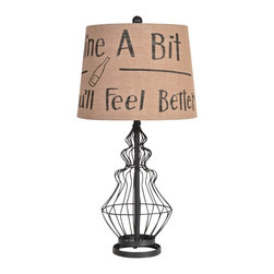 """Lamps Plus - Country - Cottage Crestview Collection Wine Country Burlap Shade Table Lamp - This transitional matte black table lamp features a delightful wine bottle motif created from stiff thick metal wire atop a round open base. A burlap shade on top features a charming ?-related phrase in a complimentary font. Revitalize your decor with this wonderful piece from sturdy metal wire in a wonderfully aged finish. Crestview Collection lighting. Transitional wire table lamp. Matte black finish. Metal construction. Wine-theme print burlap shade. Open round base. Takes one 100 watt 3-way bulb (not included). Shade is 10"""" across the top 12"""" across the bottom and 9"""" high. 24"""" high.    Transitional wire table lamp.  Matte black finish.  Metal construction.  Wine-theme print burlap shade.  Open round base.  Takes one 100 watt 3-way bulb (not included).  Shade is 10"""" across the top 12"""" across the bottom and 9"""" high.  24"""" high."""