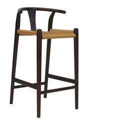 Gingko - Xian Barstool, Dark - Rushing to the bar takes on new meaning with this stool. Reminiscent of Asian and classic midcentury designs, this stylish bar-height stool is handmade from solid walnut with a rush seat and comes in a choice of dark, natural or black finishes. When's the last time you saw a perch with this much panache?