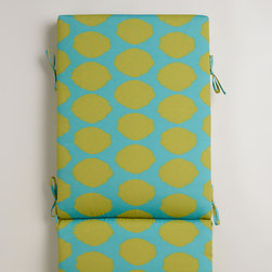 Green and Aqua Dotted Ikat Outdoor Chaise Lounge Cushion - Invite your outdoor space to jump on the polka dot train with this colorful ikat printed chaise lounge cushion.