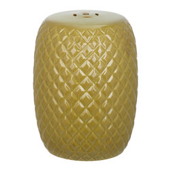 Safavieh - Calla Garden Stool - With a surface texture inspired by chic quilted leather, the transitional Calla  Garden Stool adds curvaceous style to indoor and outdoor spaces.  Crafted of spring green glazed ceramic this accent piece is designed for use as a plant stand, seat or table.