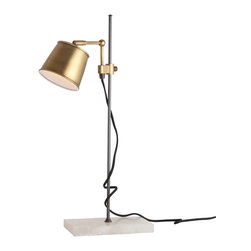 Watson Vintage Brass/Snow Marble/Black Iron Adj Desk Lamp - A source of task lighting that exhibits the utter, classic simplicity to combine a practical air with a distinguished message, the Watson Adjustable Desk Lamp has a brushed vintage brass shade equipped with the durable hardware to slide, swivel, and tilt on the sleek base.  That base is composed of an upright dark iron rod firmly grounded in a slab of snow-white marble.  Overall, the lamp combines multiple tints but stays restrained and handsomely neutral.