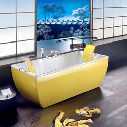 WS Bath Collections - Kali Yellow Free Standing Bathtub - Kali Color Free Standing Bathtub in Yellow, Free Standing Bathtub Acrylic Inside, Colored Outside Available in Many DIfferent Colors, Please Call to Inquire For Custom Designs  Measurements, Please Call Us Optional Headrest, with Stainless Steel Support, Made in Italy