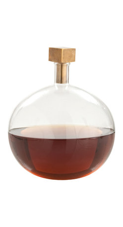Kathy Kuo Home - Edgar Round Modern Glass Square Brass Stopper Decanter - This deco decanter would be the perfect compliment to a Hollywood Regency cocktail cart, or any contemporary space where sleek, understated elegance is appreciated.