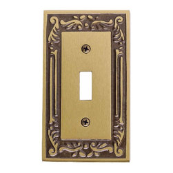 Renovators Supply - Switchplates Antique Solid Brass Single Toggle/Dimmer Switchplate - Switchplates. This elegant solid brass Victorian style wallplate features an antique brass finish.