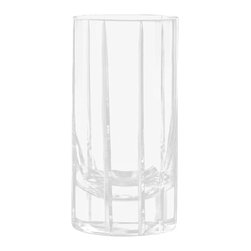 Qualia - Trend Hard Ball, Set of 4 - A sleek shape and subtle design give these Trend Double Old Fashioned Glasses their modern feel. Featuring clear glass and vertical cut lines, these tall glasses have an understated, elegant look. Holds 18 ounces of liquid. Dishwasher safe.