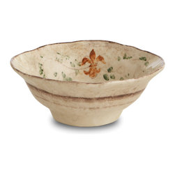 "Arte Italica - Medici Pasta/Cereal Bowl - Serve everyone's favorite dish — pasta, of course! — in beautiful bowls that enhance the pleasure. These handmade pieces feature subtle, appetizing colors and a rustic take on giglio — Italian term for ""fleur-de-lis."""