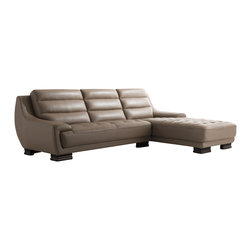 ESF Furniture - 6082 Italian Leather Sectional Sofa with Right Chaise - Sure to become your favorite spot in home, the 6082 sectional sofa features Italian leather in the front and a designer leather match in the back where the contact is minimal. Block legs and decorating stitching with tufting add solidity and completing the look of the sectional.