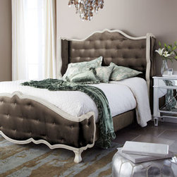 "Haute House - Haute House Taupe ""Tabitha"" Tufted California King Bed - Alder wood frame. Button-tufting on brown velvet-covered headboard and footboard. Buttons and welt in dove-white for contrast; legs have a creamy white finish. Headboard and footboard curve slightly at ends to embrace mattress. Headboards are all..."
