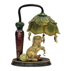Sterling Industries - Sterling Industries 91-297 Sterling Rabbit Under Leaf Mini Accent Table Lamp - There Goes That Cunning Rabbit Foraging In The Vegetable Garden Again! This Whimsical And Charming Rabbit Under Leaf Mini Lamp By Sterling Features A Determined Rabbit Searching For His Next Meal Under The Leaf Of A Cabbage Which Holds (1) 10W Candleabra Bulb. Acrylic Beads And Decorative Carrot And Cabbage Charms Are Hanging From The Delicately Painted Cabbage Leaf Shade. This Is A Fun And Quirky One-Of-A-Kind Night Light For A Bedside Table Or Tucked Away In A Small Corner Of The Living Room, Family Room, Den Or Library. Overall The Lamp Stands 9.5 Inches Long X 6 Inches Wide X 13 Inches High.   Lamp (1)