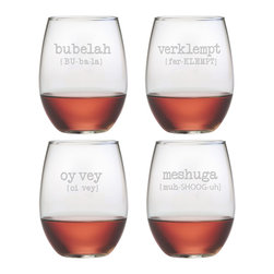 Susquehanna Glass - Jewish Words Vol. 1 Stemless Wine Glass, 21oz, S/4 - Each 21 ounce stemless tumbler features different well-known Jewish vocabulary paired with its phonetic pronunciation. The assorted set includes 'bubelah,' 'verklempt,' 'oy vey' and 'meshuga.' Dishwasher safe. Sold as a set of four. Made and decorated in the USA.