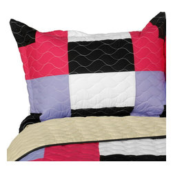 Blancho Bedding - Kamelia Vermicelli-Quilted Patchwork Geometric Quilt Set Full/Queen - The [Kamelia] 100% TC Fabric Quilt Set (Full/Queen Size) includes a quilt and two quilted shams. This pretty quilt set is handmade and some quilting may be slightly curved. The pretty handmade quilt set make a stunning and warm gift for you and a loved one! For convenience, all bedding components are machine washable on cold in the gentle cycle and can be dried on low heat and will last for years. Intricate vermicelli quilting provides a rich surface texture. This vermicelli-quilted quilt set will refresh your bedroom decor instantly, create a cozy and inviting atmosphere and is sure to transform the look of your bedroom or guest room. (Dimensions: Full/Queen quilt: 90.5 inches x 90.5 inches; Standard sham: 24 inches x 33.8 inches)