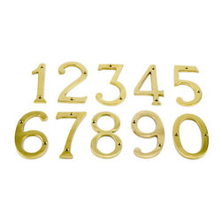 Polished Brass Traditional House Numbers - These Polished Brass house numbers complement any style of home, and are made of the highest quality solid brass.