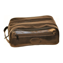 """Budd Leather - Cowhide Toiletry Bags With 2 Top Zippers, Back Zip Pocket And Engraving Patch - Soft and supple toiletry bag. A flatter and wider double top zip with outside pocket. A side carrying handles and leather engraving patche which can be personalized making it even more special a gift. We have always recommended traveling with a toiletry kit, it helps to coordinate and organize all of your toiletry essentials. We always keep one as a """"ready bag"""" so we are always ready to get up and go! Soft Cowhide, Flat Top with 2 Top Zippers and 1 Side Zipper - Includes Engraving Patch - 10 1/2"""" X 6 1/4"""" X 3 1/2"""""""