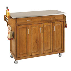 Home Styles - Home Styles Create-a-Cart 49 Inch Stainless Top Kitchen Cart in Cottage Oak - Home ...