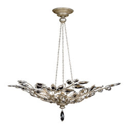 Fine Art Lamps - Fine Art Lamps 753740ST Crystal Laurel Warm Silver Leaf Pendant - 6 Bulbs, Bulb Type: 60 Watt Candelabra; Weight: 48lbs