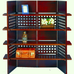 ORE International - 4-Panel Book Shelves Walnut Finish Room Divid - This impressive, elegant walnut finish room divider which combine with the shelves is great for placing favorite decorative items to style the room. May place books as a bookshelf, pictures as a galleria, plants as a decor. Room divider made of wood for endurance and stability to last years. Easy Assembly.. Dimensions: 57 in. L x 14.75 in. W x 58.75 in. H ( 14.75 lbs. )