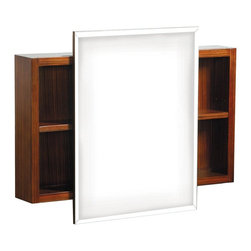 Decolav - Danze Ziga Zaga 30W x 18H in. Zebra Surface Mount Medicine Cabinet DF034120ZB Mu - Shop for Bathroom Cabinets from Hayneedle.com! Not everything in your bathroom needs to be all about function and the Danze Ziga Zaga 30W x 18H in. Zebra Surface Mount Medicine Cabinet is ready to play a little while everyone else works. The central cabinet features a mirrored interior with adjustable shelves covered by a simple beveled mirror. On each side of this cabinet is a pair of adjustable shelves in a case featuring a zebrawood finish and adjustable shelves. Hanging hardware is included so you can get started up updating your bathroom as soon as your package arrives.About PegasusThink Pegasus when it comes to kitchen or bath needs. Pegasus is widely known for their signature faucets unique bath accessories and furniture vanities mirrors pedestal sinks toilets and kitchen sinks. Pegasus offers special collections featuring products that coordinate with an elegant yet sophisticated style. With designs spanning from tasteful and traditional to streamlined and contemporary Pegasus provides high-quality products and fixtures for a reasonable cost and promotes the philosophy of luxury without the extravagance.
