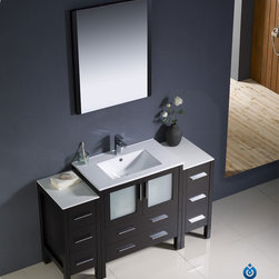 "Fresca - Fresca Torino 54"" Single Sink Vanity Set w/ 2 Side Cabinets & Integrated Sink - Fresca is pleased to usher in a new age of customization with the introduction of its Torino line. The frosted glass panels of the doors balance out the sleek and modern lines of Torino, making it fit perfectly in either 'Town' or 'Country' decor. Available in the rich finishes of Espresso, Glossy White, Light Oak and Walnut Brown, all of the vanities in the Torino line come with either a ceramic vessel bowl or the option of a sleek modern ceramic integrated sink."