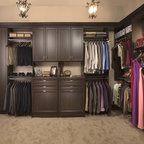 Closets by Organizers Direct - Premier Door fronts in Chocolate Pear.