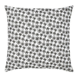 "Petite Etoile Cotton Pillow, Black - Modern and classic - the hallmark of the CocoCozy style.  This 100% cotton decorative pillow is sure to make a statement in any room. Each 20"" x 20"" pillow is custom made and manufactured in the United States with an invisible zipper and a knife edge finish.  Dry clean only."