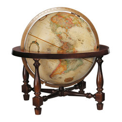 "Replogle - Colonial Desktop World Globe - The Colonial world globe features a solid hardwood cradle mounting in lustrous walnut finish.  12"" raised relief globe with up-to-date cartography."