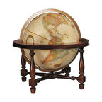 """Replogle - Colonial Desktop World Globe - The Colonial world globe features a solid hardwood cradle mounting in lustrous walnut finish.  12"""" raised relief globe with up-to-date cartography."""
