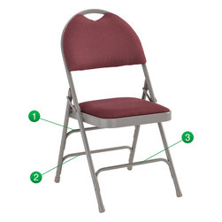 Flash Furniture - Flash Furniture Hercules Series Extra Large Burgundy Fabric Metal Folding Chair - This Triple Braced Plush Comfort Hercules Folding chair provides superior support and comfort. This portable folding chair can be used for Parties, Graduations, Sporting Events, School Functions and in the Classroom. This chair will be the perfect addition in the home when in need of extra seating to accommodate guests. When no longer needed, simply fold away as a compact storage solution. This economically priced chair will endure some heavy usage with an 18-gauge steel frame, triple braced and leg strengthening support bars. [HA-MC705AF-3-BY-GG]