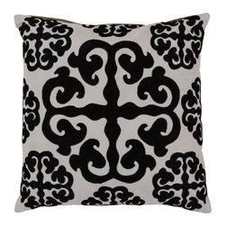 Surya Rugs - White and Caviar Polyester Filled 18 x 18  Pillow - - This trendy design and the raised texture add style to every room. This pillow has a polyester fill and a zipper closure. Made in India with one hundred percent cotton and some wool detail this pillow is durable and priced right  - Cleaning/Care: Blot. Dry Clean  - Filled Material: Polyester Filler Surya Rugs - LG576-1818P