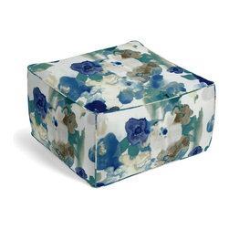 Blue & Aqua Watercolor Floral Custom Pouf - The Square Pouf is the hottest thing in decor since the sectional sofa. This bean bag meets Moroccan style ottoman does triple duty as a comfy extra seat, fashion-forward footstool, or part-time occasional table.  We love it in this cobalt blue & aqua watercolor floral on white cotton. instant modern art, no frame needed.