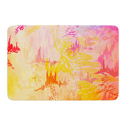 "KESS InHouse - Ebi Emporium ""Sky Risers II"" Pink Yellow Memory Foam Bath Mat (17"" x 24"") - These super absorbent bath mats will add comfort and style to your bathroom. These memory foam mats will feel like you are in a spa every time you step out of the shower. Available in two sizes, 17"" x 24"" and 24"" x 36"", with a .5"" thickness and non skid backing, these will fit every style of bathroom. Add comfort like never before in front of your vanity, sink, bathtub, shower or even laundry room. Machine wash cold, gentle cycle, tumble dry low or lay flat to dry. Printed on single side."