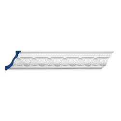 """Inviting Home - Westport Crown Moulding - Westport crown moulding 4-1/2""""H x 3-3/16""""P x 5-1/2""""F x 7'10"""" 4 piece minimum order required crown molding specifications: - outstanding quality crown molding made from high density polyurethane: environmentally friendly material is hypoallergenic and fully recyclable no CFC no PVC no formaldehyde; - front surface of this molding has extra durable and smooth surface; - crown molding is pre-primed with water-based white paint; - lightweight durable and easy to install using common woodworking tools; - metal dies were used for consistent quality and perfect part to part match for hassle free installation; - this crown molding has sharp deep and highly defined design; - matching flexible molding available; - crown molding can be finished with any quality paints; Polyurethane is a high density material--it's extremely lightweight and easy to install (and comes primed and ready to paint). It is a green material meaning its CFC and formaldehyde free. It is also moisture resistant--so it won't shrink flex or mold. What's also great about Polyurethane is that it's completely customizable and can be treated as wood (you can saw it nail it screw it and sand it). In addition our polyurethane material comes primed and ready to paint. There is a four piece minimum requirement for this molding purchase."""